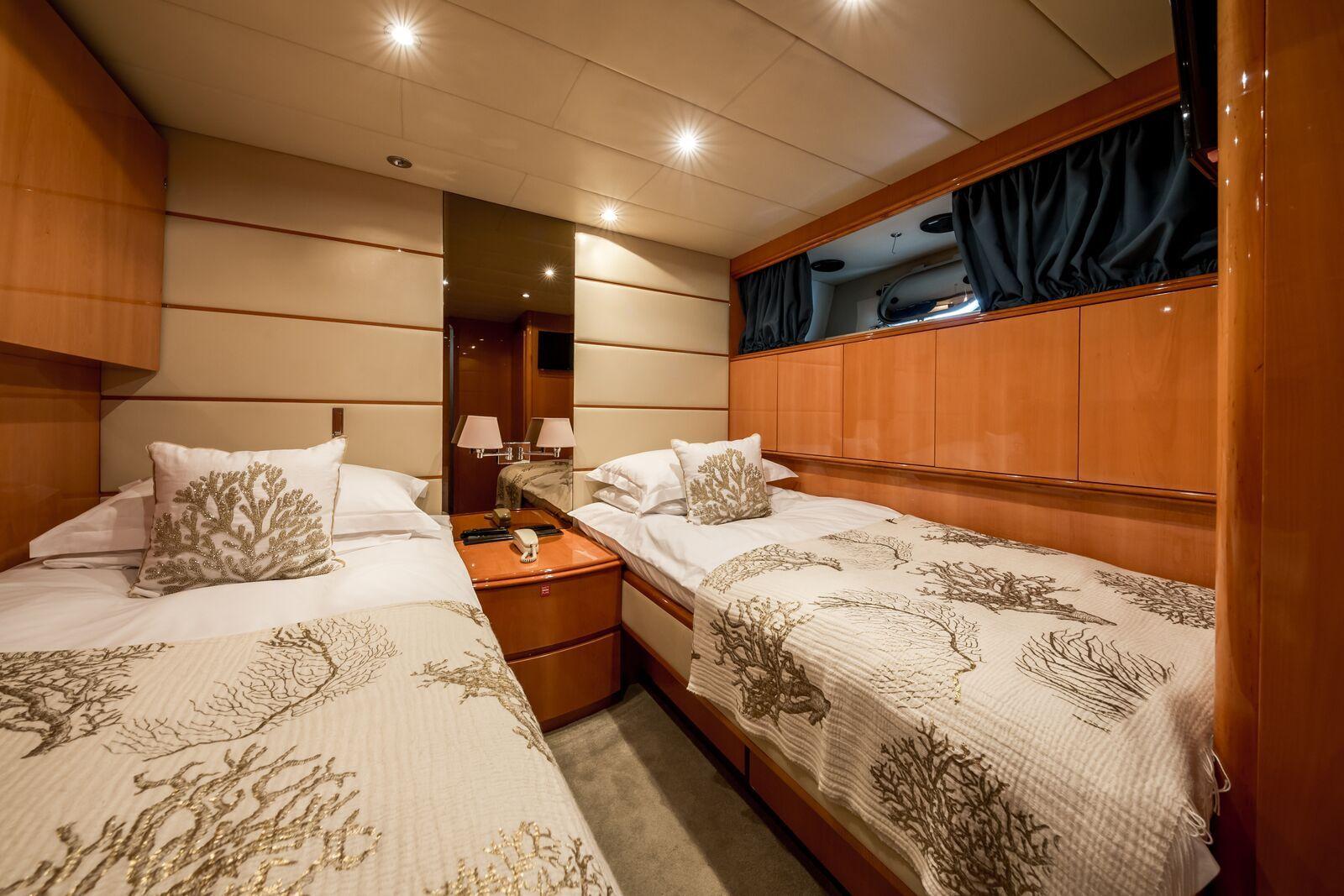INDULGENCE OF POOLE Mangusta 86 Luxury Superyacht Twin Cabin