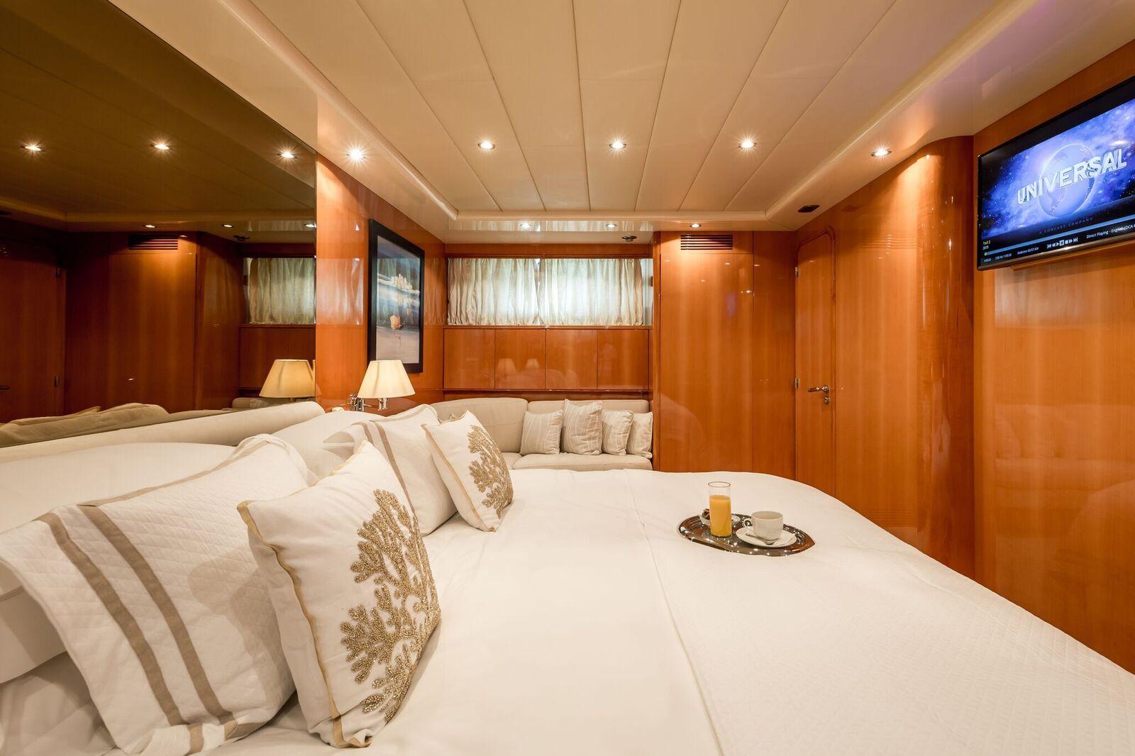 INDULGENCE OF POOLE Mangusta 86 Luxury Superyacht Main Cabin