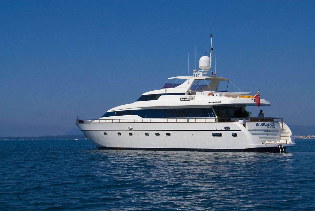 INDULGENCE OF POOLE Mangusta 86 Luxury Superyacht Running