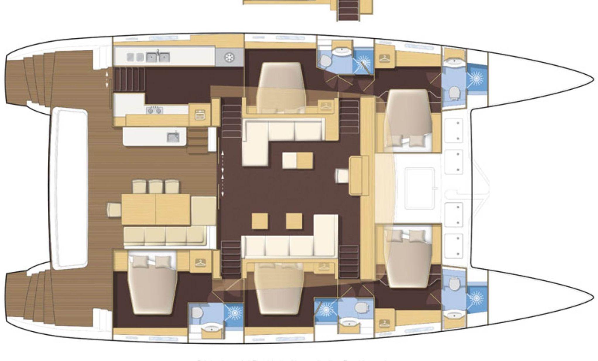 KASKAZI FOUR Lagoon 620 Luxury Catamaran Floor Plan