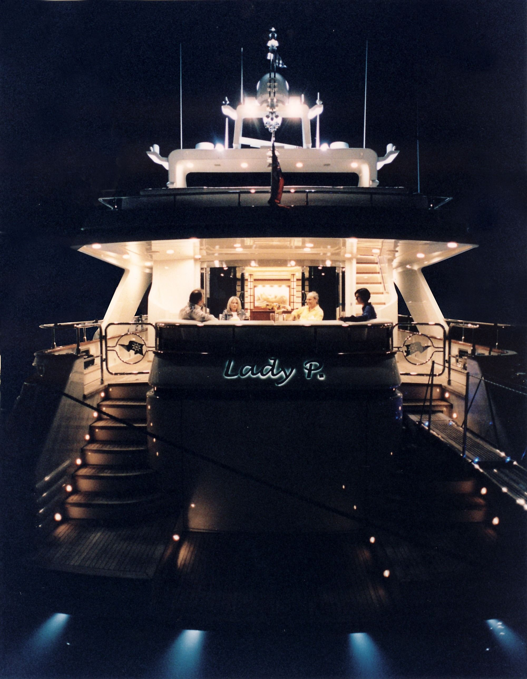LADY P - Crewed Motor Yacht - Stern by Night
