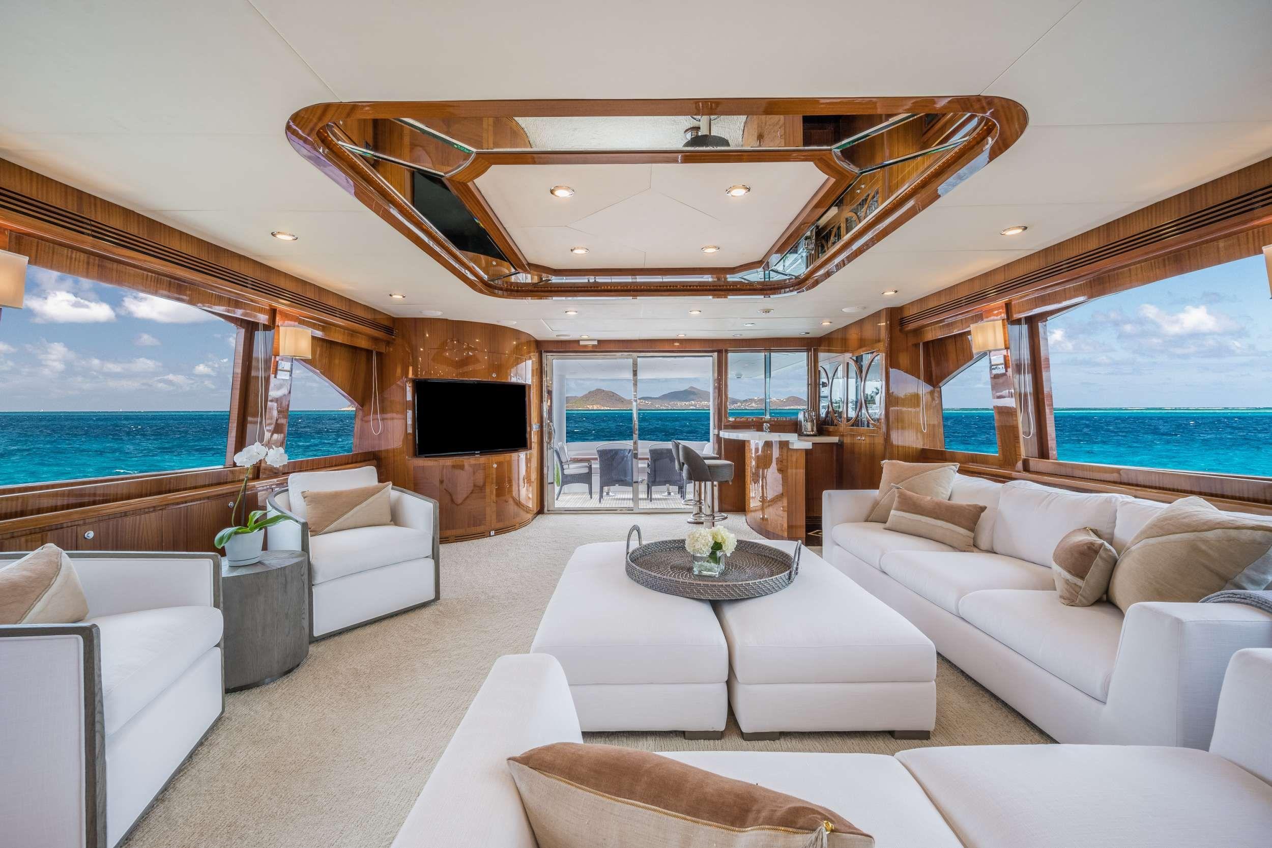 LIMITLESS Crewed Motor Yacht Saloon
