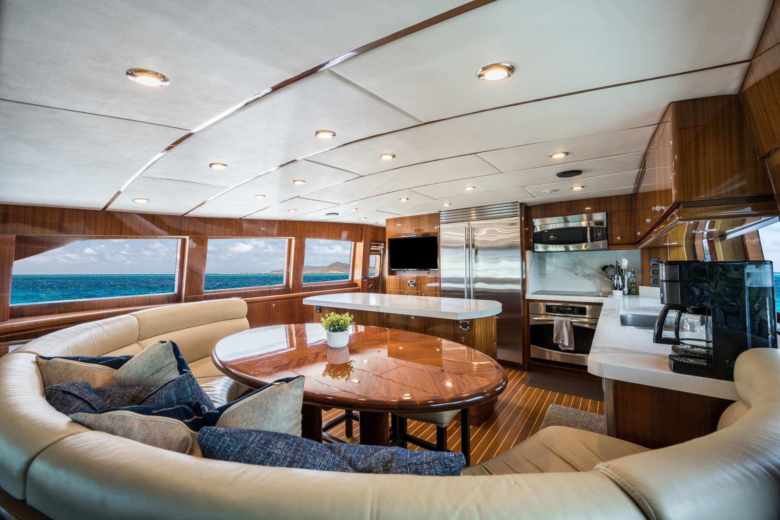 LIMITLESS Crewed Motor Yacht Galley Seating