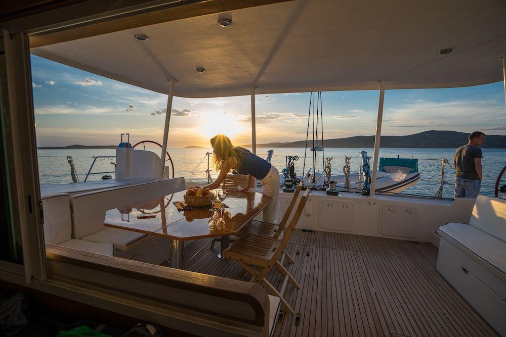 aft deck at sunset