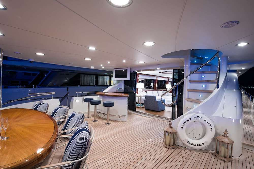 MONEY FOR NOTHING Lazzara 115 Aft Deck