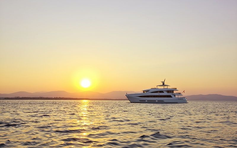 QUARANTA Curvelle 34m Luxury Superyacht Sunset Sailing