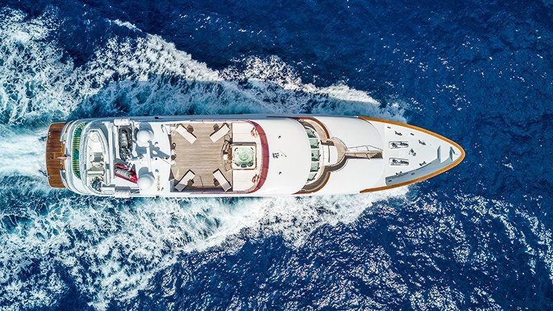 RELENTLESS Trinity 145 Luxury Superyacht Aerial View