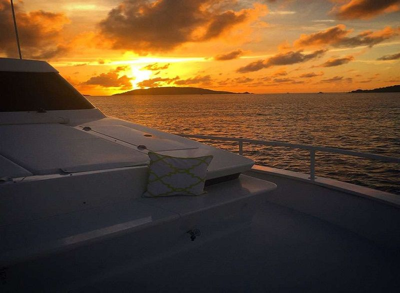 sun pad on the fore deck