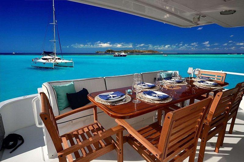 aft deck dining area