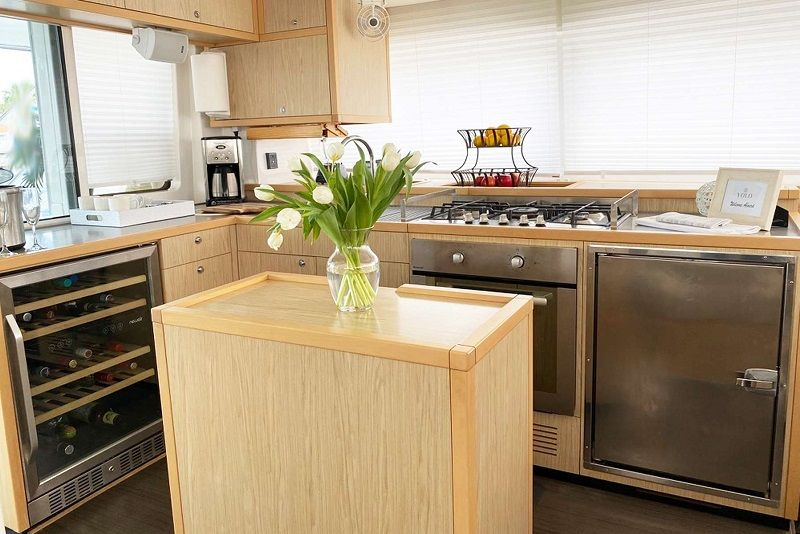 galley with wine cooler