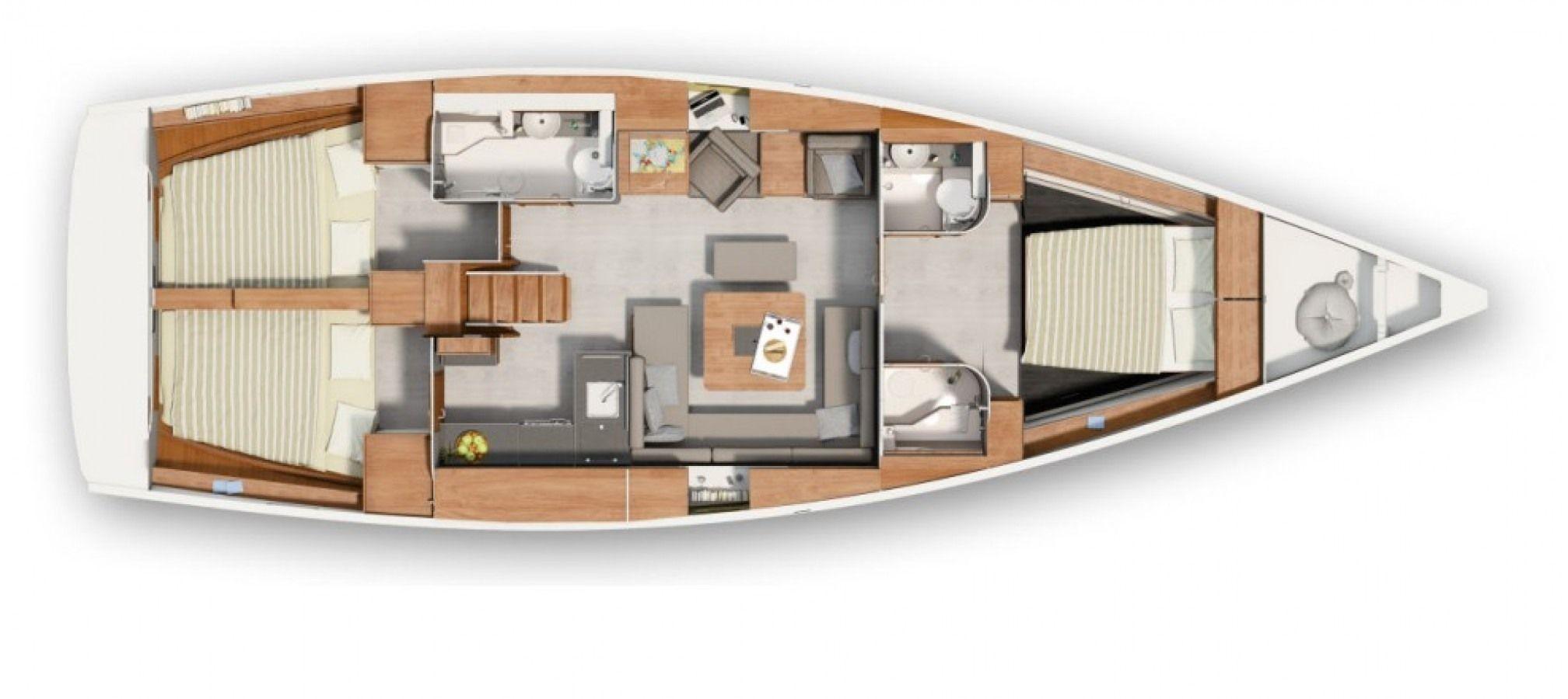 Hanse 455 3 Cabin Layout